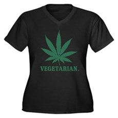 Vegetarian Cannabis Womens Plus Size V-Neck Dark