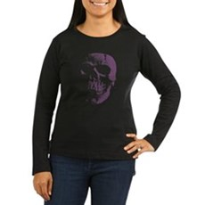 Purple Skull Womens Long Sleeve T-Shirt