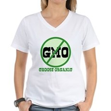 Say No to GMO Womens V-Neck T-Shirt