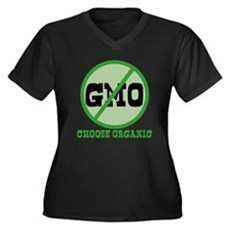 Say No to GMO Womens Plus Size V-Neck Dark T-Shir