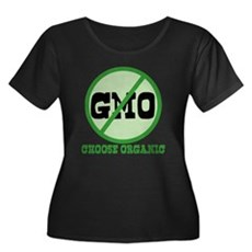Say No to GMO Womens Plus Size Scoop Neck Dark T-