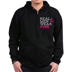 Real Men Wear Pink Zip Dark Hoodie