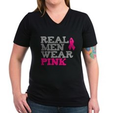 Real Men Wear Pink Womens V-Neck T-Shirt