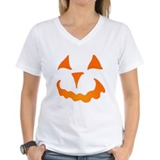 Pumpkin Face Womens V-Neck T-Shirt