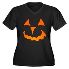 Pumpkin Face Plus Size V-Neck Shirt