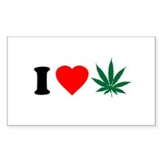 I Love Weed Rectangle Sticker