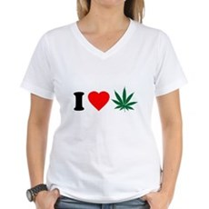 I Love Weed Womens V-Neck T-Shirt