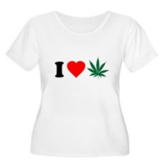I Love Weed Plus Size Scoop Neck Shirt