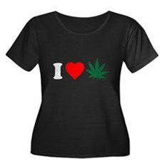 I Love Weed Womens Plus Size Scoop Neck Dark T-Sh