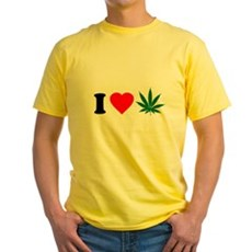 I Love Weed Yellow T-Shirt