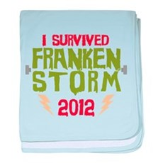 I Survived Frankenstorm baby blanket