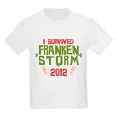 I Survived Frankenstorm Kids Light T-Shirt