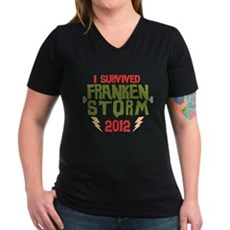I Survived Frankenstorm Womens V-Neck Dark T-Shir