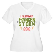 I Survived Frankenstorm Womens Plus Size V-Neck T