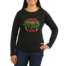 I Survived Frankenstorm Womens Long Sleeve Dark T