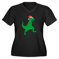 Santasaurus Plus Size V-Neck Shirt