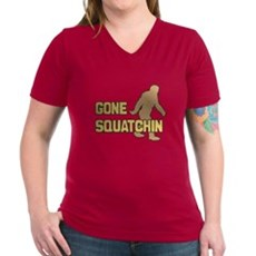 Gone Squatchin Womens V-Neck T-Shirt