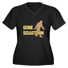 Gone Squatchin Womens Plus Size V-Neck Dark T-Shi
