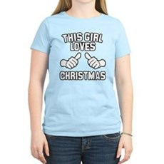 This Girl Loves Christmas Womens Light T-Shirt