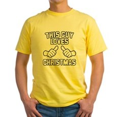 This Guy Loves Christmas Yellow T-Shirt