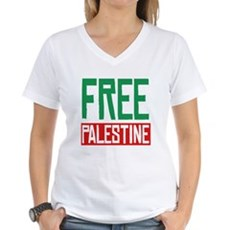Free Palestine ????? ?????? Womens V-Neck T-Shirt