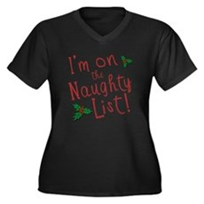 Im on the Naughty List Womens Plus Size V-Neck Da