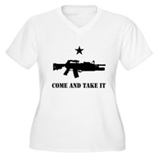 Come and Take It Plus Size V-Neck Shirt