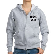 I Love Cats Womens Zip Hoodie