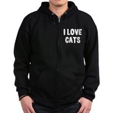 I Love Cats Zip Dark Hoodie