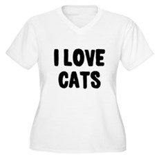 I Love Cats Plus Size V-Neck Shirt