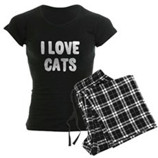 I Love Cats Womens Dark Pajamas