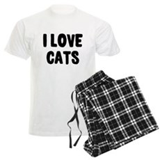 I Love Cats Mens Light Pajamas
