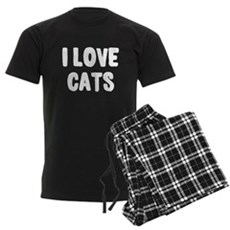 I Love Cats Mens Dark Pajamas