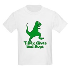 T-Rex Gives Bad Hugs Kids Light T-Shirt