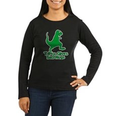 T-Rex Gives Bad Hugs Womens Long Sleeve Dark T-Sh