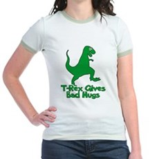 T-Rex Gives Bad Hugs Jr Ringer T-Shirt