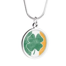 Official Irish Drinking Team Silver Round Necklace