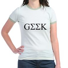 Geek in Greek Letters Jr Ringer T-Shirt