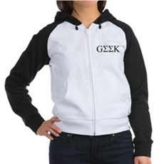 Geek in Greek Letters Womens Raglan Hoodie