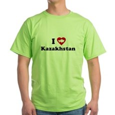 I Love [Heart] Kazakhstan Green T-Shirt