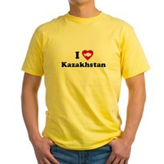I Love [Heart] Kazakhstan Yellow T-Shirt