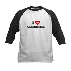 I Love [Heart] Kazakhstan Kids Baseball Jersey