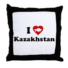 I Love [Heart] Kazakhstan Throw Pillow