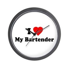 I Love [Heart] My Bartender Wall Clock
