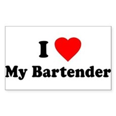 I Love [Heart] My Bartender Rectangle Sticker