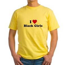 I Love [Heart] Black Girls Yellow T-Shirt