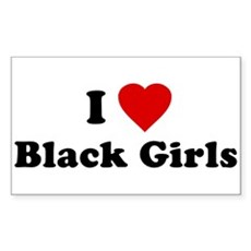I Love [Heart] Black Girls Rectangle Sticker