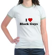I Love [Heart] Black Guys Jr Ringer T-Shirt