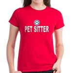 Women's Dark T-Shirt - Simple Pet Sitter design with a splash of color. Blue stripes under a paw print add to bold and easy to read Pet Sitter text to let everyone know you are a Pet Sitter!