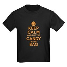 Keep Calm Candy Bag Halloween T-Shirts for Kids